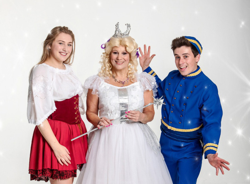 Cinderella, Fairy Moonglow and Buttons at the Peoples Theatre in Newcastle