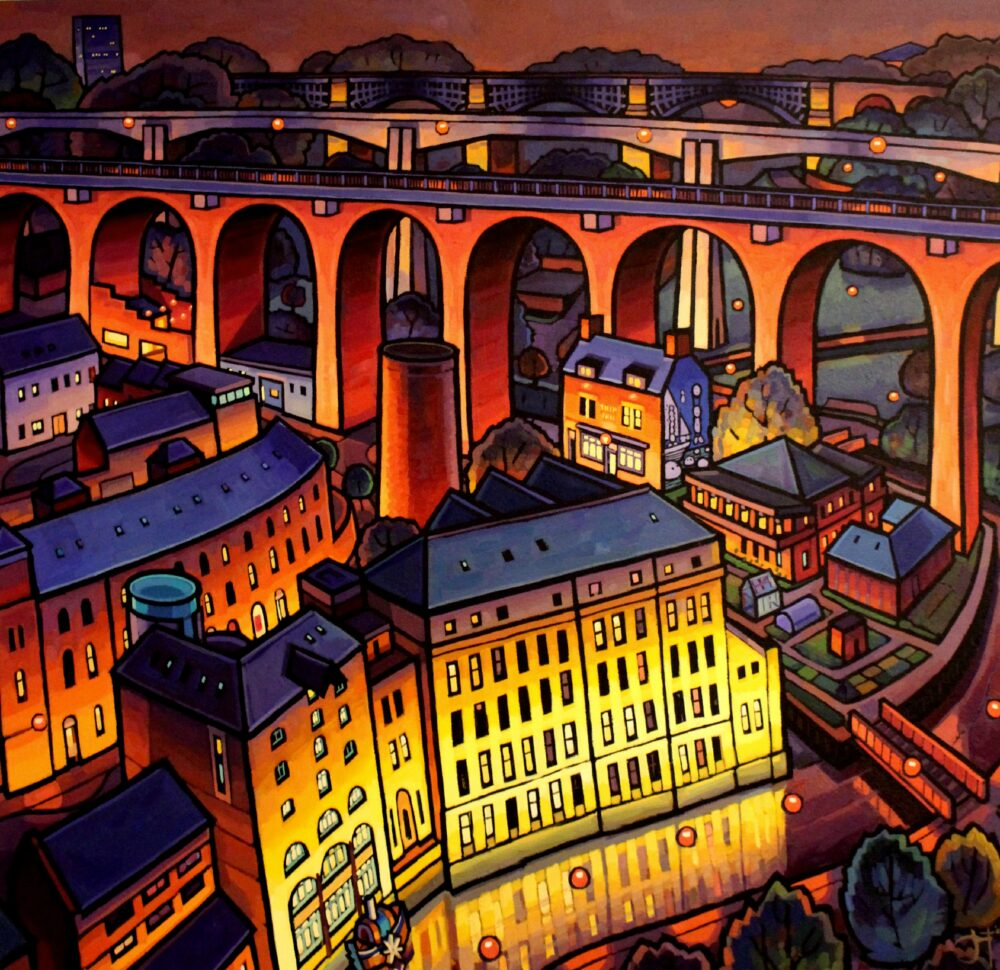 Jim Edwards' Ouseburn painting. Visit his gallery as part of Ouseburn Open Studios