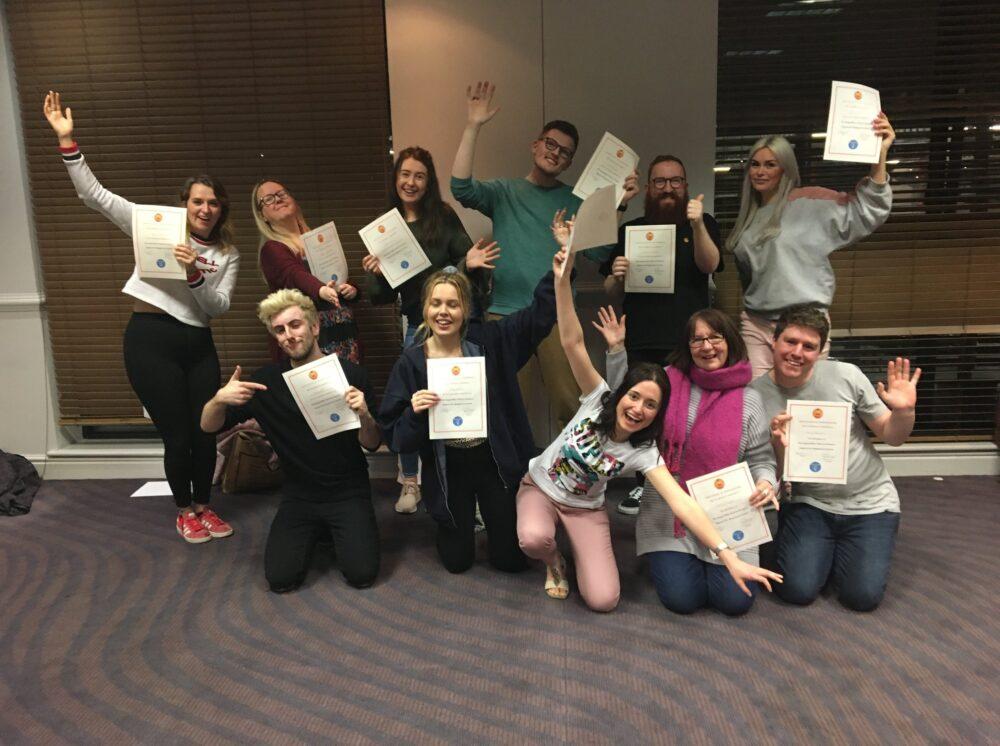 Wendy Errington and her fellow Beginners' Improv graduates in Newcastle