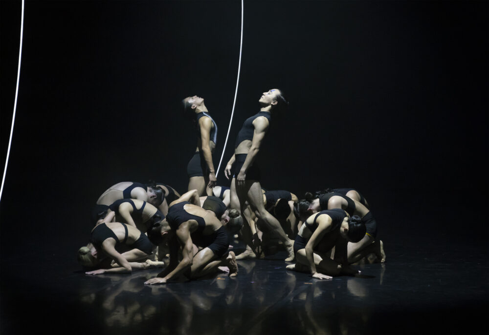 Matthew Koon and Riku Ito with Northern Ballet dancers in The Shape of Sound.  Credit: Emma Kauldhar