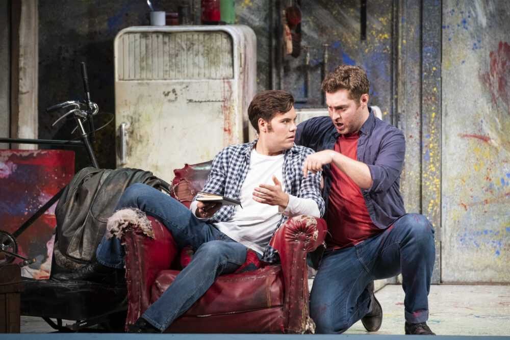 Thomas Atkins as Rodolfo and Timothy Nelson as Marcello in La boheme at Newcastle Theatre Royal