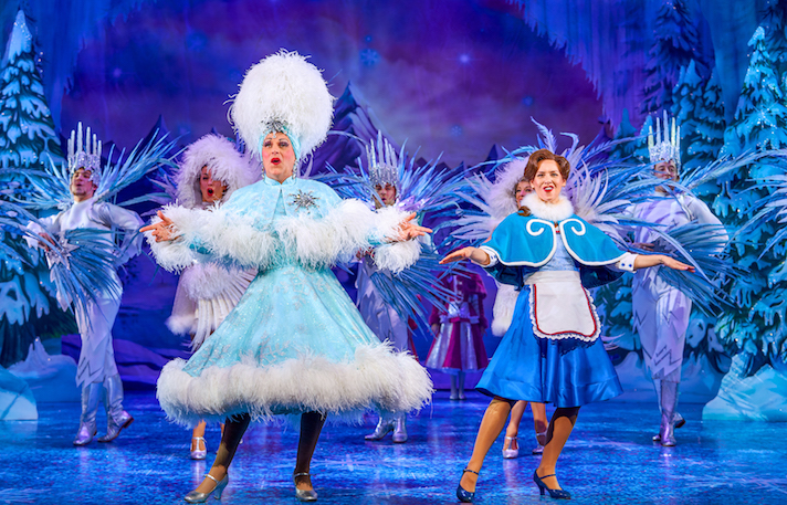 Chris Hayward as Mrs Potty and Laura Evans as Belle in Beauty and the Beast