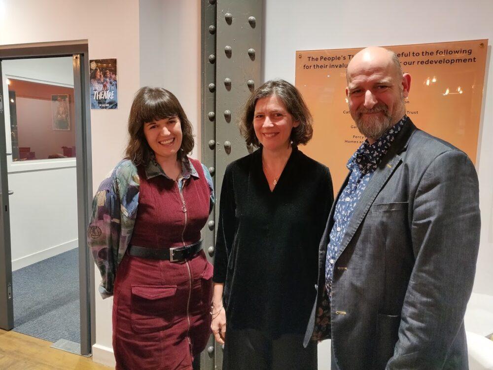 Erica Whyman (centre) with Phoenix creators Rhiannon Wilson and Stewart Dives. Photo credit: Jack-Thompson
