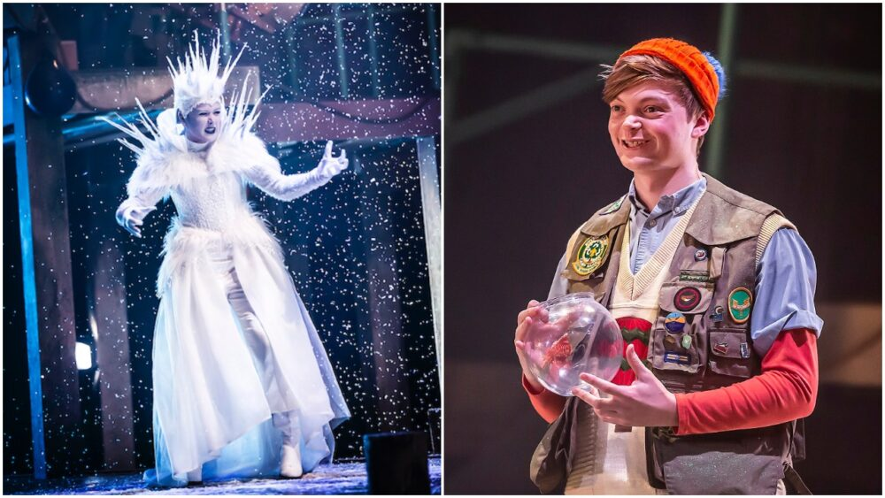 Elizabeth Carter as the Snow Queen and Gregor Mackay as Kai