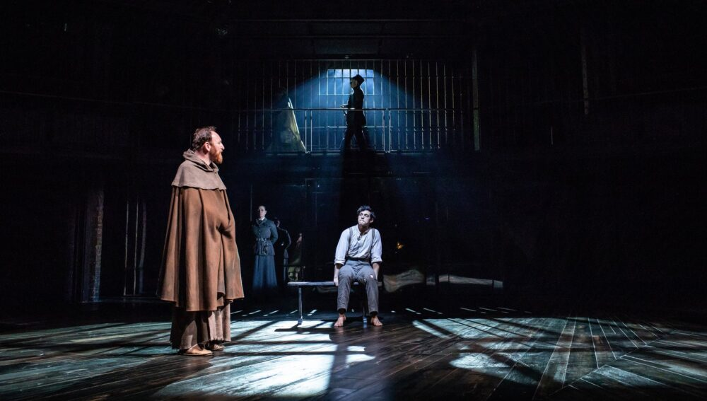 Antony Byrne (Duke) and James Cooney (Claudio), Measure for Measure. Photo, Helen Maybanks