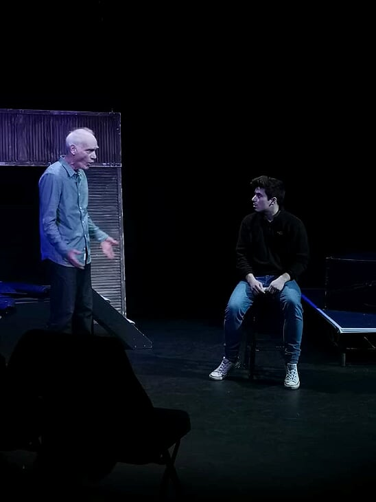 Gordon Mounsey as Dennis and Joe Robson as Micky in rehearsal. Photo Anneliese Clifton