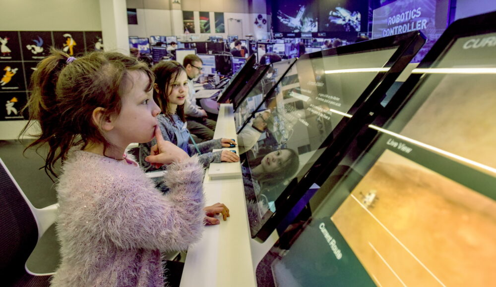 The first children make the most of the new Space Zone at the Life Science Centre in Newcastle