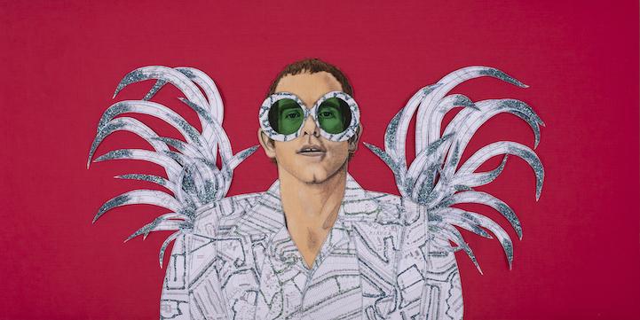 Textile artist Jane Sanders' portrait of Elton John