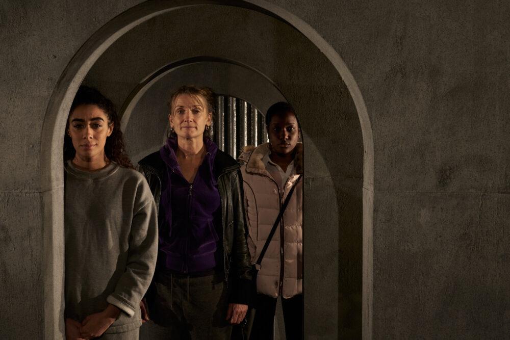 Paislie Reid as Julie; Zoe Lambert as Tracey and Taja Luegaezor Christian as Annie in Sugar. Photo credit: Topher McGrillis